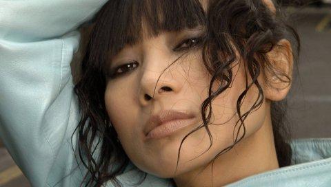 Ling bai, девушка, актриса, брюнетка, взгляд, волосы