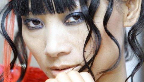 Ling bai, девушка, актриса, модель, волосы, черный