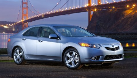 Acura, tsx, 2010, синий, вид сбоку, стиль, автомобили, огни, мост, река