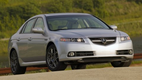 Acura, tl, 2007, серебристый металлик, вид спереди, стиль, автомобили, кустарники, трава, природа
