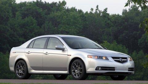 Acura, tl, 2007, белый металлик, вид сбоку, стиль, автомобили, природа, деревья, трава