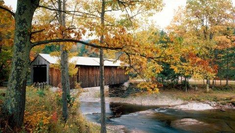 Река, мост, waterville, вермонт, осень, деревья