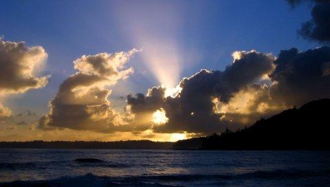 Облака, небо, вечер, свет, закат, солнце, море, горизонт