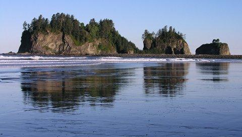 Берег, возвышение, море, остров, камни, песок