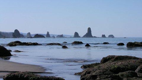 Камни, вода, море, волны, серфинг