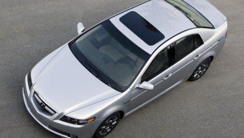 Acura, tl, 2007, металлическое серебро, вид сверху, стиль, автомобили, асфальт