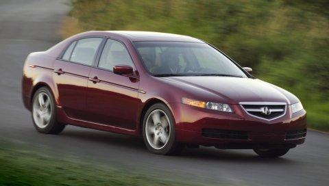 Acura, tl, 2004, красный, вид сбоку, стиль, автомобили, природа, скорость, трава