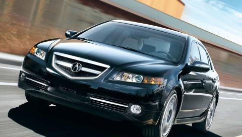 Acura, tl, 2007, черный, вид спереди, стиль, автомобили, скорость, трек