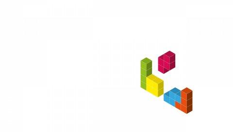 Тетрис, кубики, 3d, белый