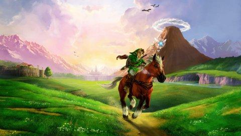 Легенда о zelda, лошади, равнине, реке, солнечном свете, zelda
