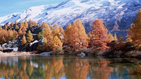 Горы, осень, деревья, отражение, озеро, солнце