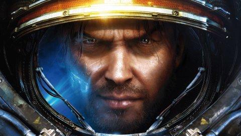 Звездный, солдат, доспехи, шлем, лицо, взгляд
