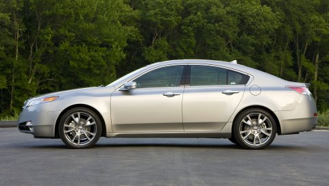 Acura, tl, 2008, серебристый металлик, вид сбоку, стиль, автомобили, деревья, асфальт