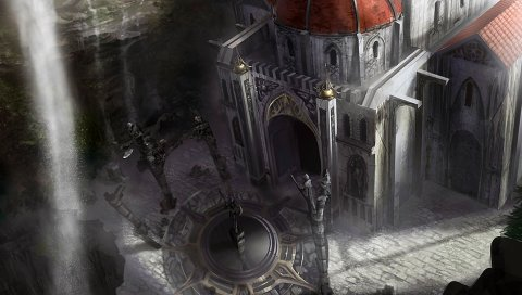 Осадка подземелья, собор, водопад, свет