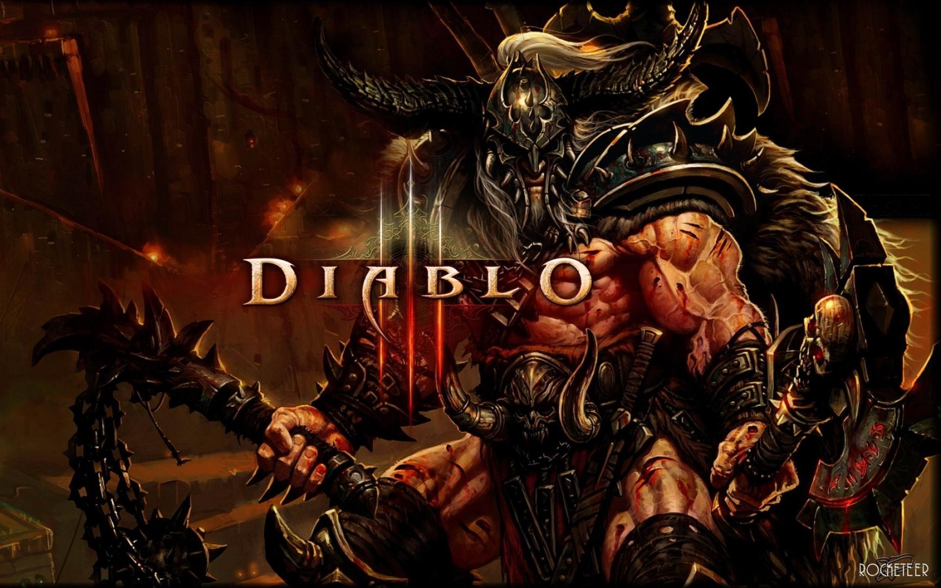 Картинки Diablo 3, варвар, рука, мышцы, имя, шлем, кровь фото и обои на рабочий стол