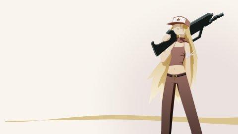 История пещеры, девушка, пушка, кепка, блондинка