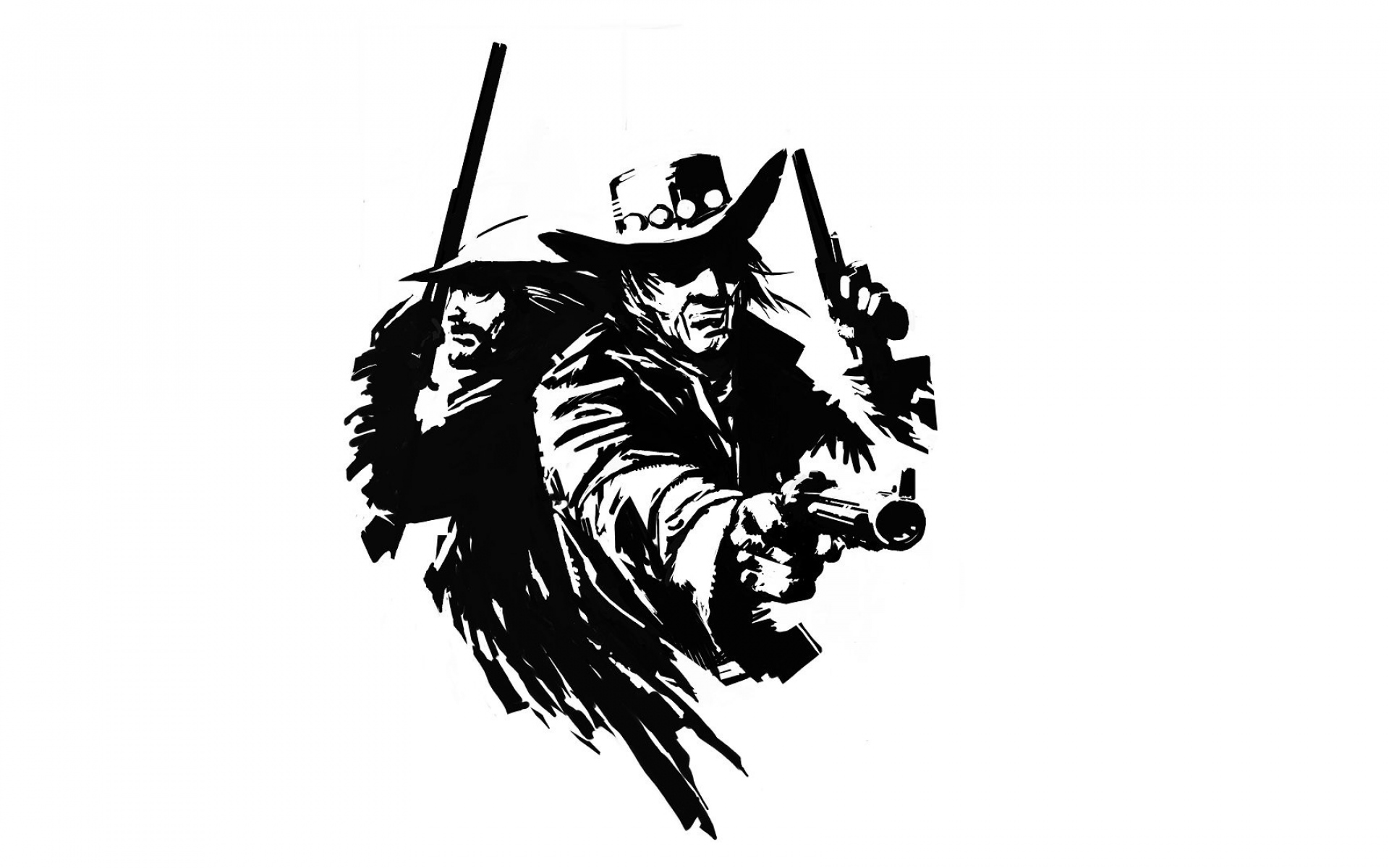 Ковбой рисунок черно белый