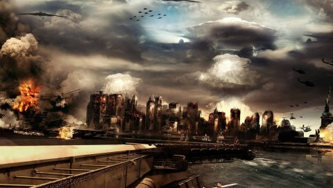Война, америка, атака, бойцы, море, огонь, дым