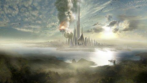Город, небоскребы, будущее, туман, склоны, море, небо