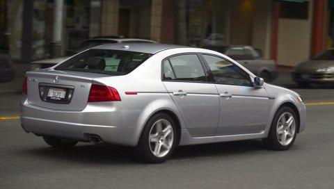 Acura, tl, 2004, серебристый металлик, вид сбоку, стиль, автомобили, улица, скорость строительства, асфальт