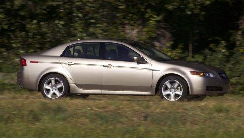 Acura, tl, 2004, серебристый металлик, вид сбоку, стиль, автомобили, природа, деревья, трава