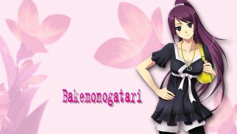 Девушка, bakemonogatari, милый, брюнетка, улыбка, сумка