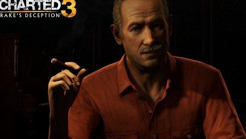 Uncharted 3 drakes обман, мужчина, рубашка, сигара, усы