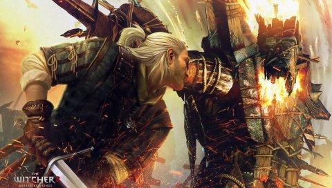 Ведьмак-убийцы королей, воин, меч, блондинка, монстр