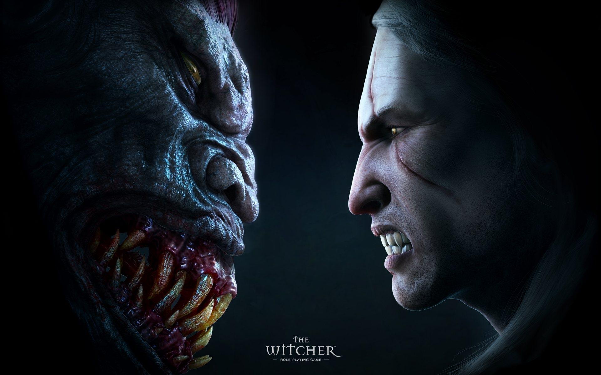 Картинки Ведьмак, лица, монстр, зубы фото и обои на рабочий стол
