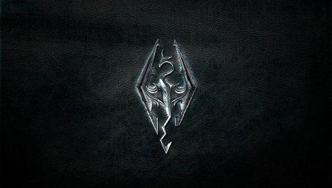 Старшие свитки, эмблема, фон, серебро, дракон