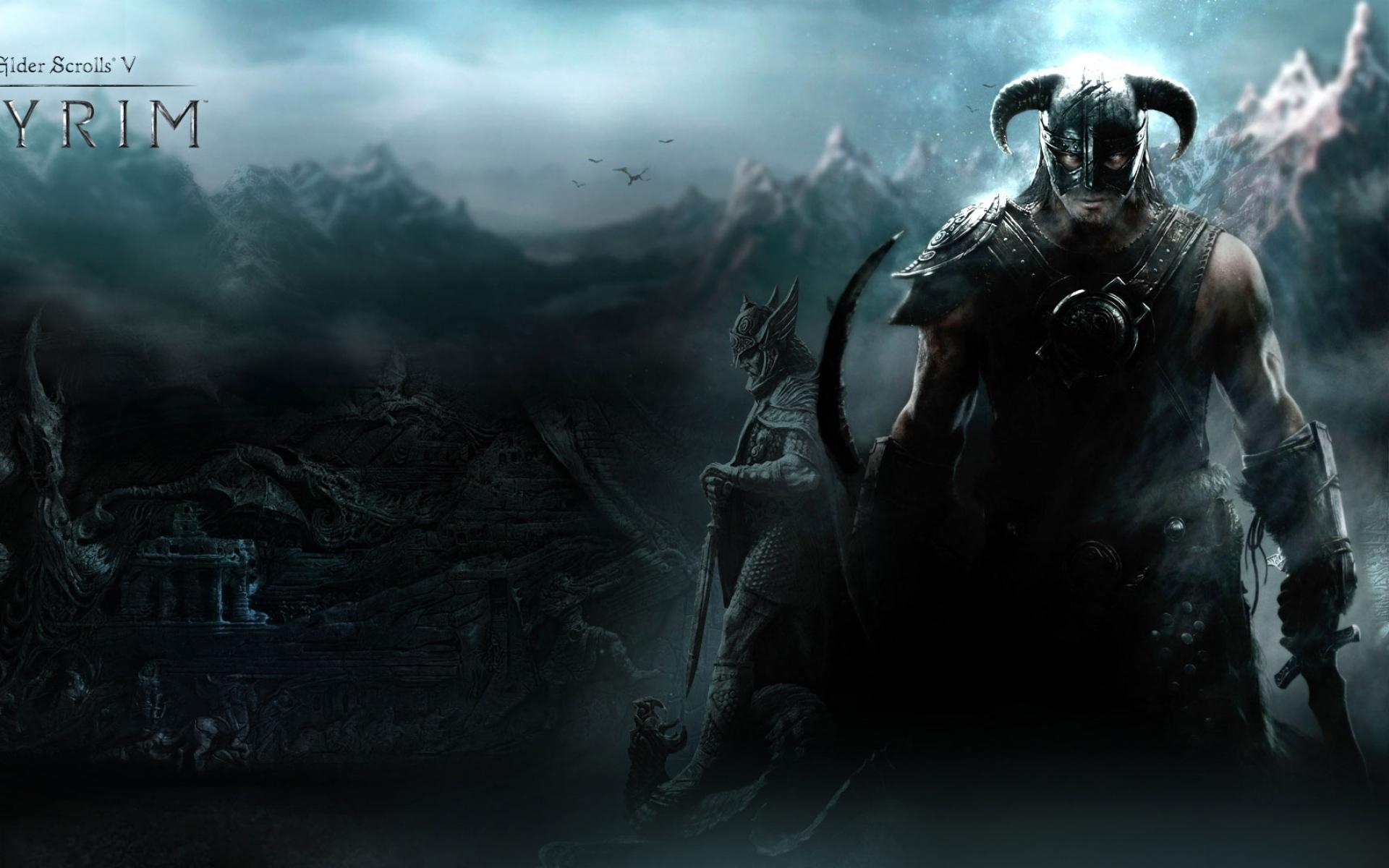 Картинки Старшие свитки скайрима, воина, горы, дракон, шлем фото и обои на рабочий стол