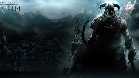 Старшие свитки скайрима, воина, горы, дракон, шлем