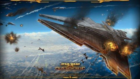 Звездные войны, старая республика, дирижабли, битва, взрыв, планета