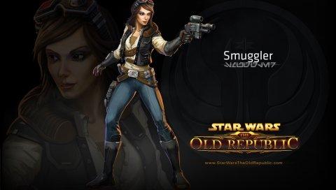 Звездные войны, старая республика, контрабандист, пистолет, девушка, характер