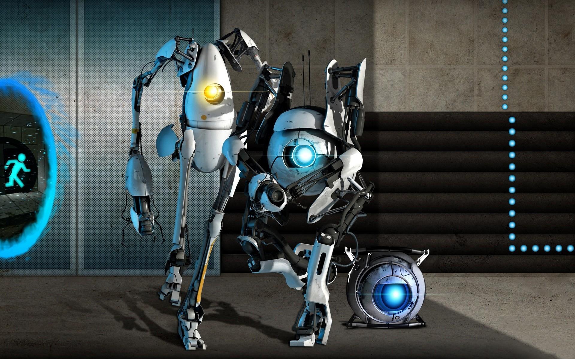 Картинки Портал 2, роботы, свет, стена, дверь фото и обои на рабочий стол