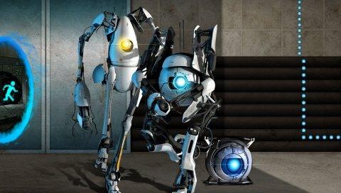 Портал 2, роботы, свет, стена, дверь