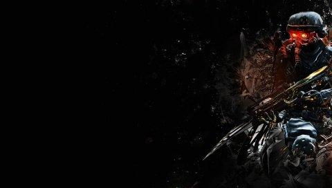Killzone, солдат, оружие, взгляд, графика, фон