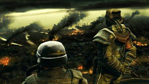 Killzone, солдаты, город, дым, лесные пожары, небо