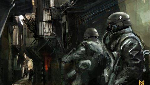 Killzone, солдаты, фан-арт, улица, дома