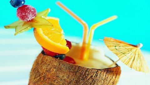 Коктейль, тропический, кокос, зонтик, фрукты, орнамент