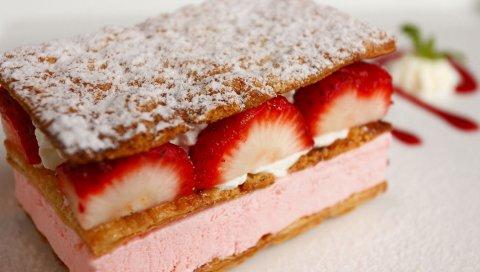 Клубника, десерт, слои, пирог, кусок, порция