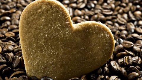 Сердце, печенье, сахар, кофе, зерно