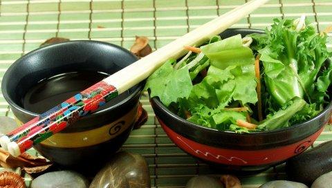 Салат, палочки, японская кухня, зелень, соус, камни, укладка