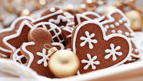 Печенье, снежинки, рождество, ель