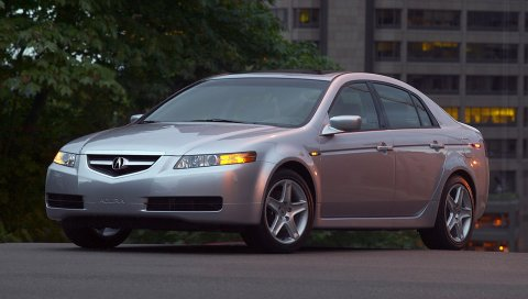 Acura, tl, 2004, серебристый металлик, вид сбоку, стиль, автомобили, здания, деревья, асфальт