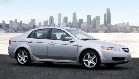 Acura, tl, металлик серебро, стиль, автомобили, город, небо, море