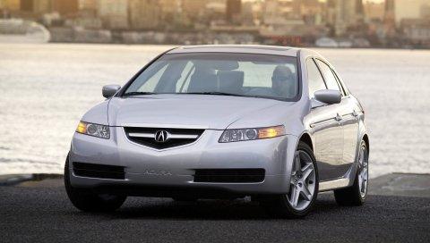 Acura, tl, 2004, серебристый металлик, вид спереди, стиль, автомобили, закат, город, вода