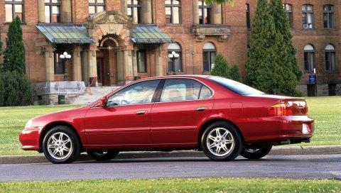 Acura, tl, 1999, красный, вид сбоку, стиль, автомобили, здания, газоны, кустарники