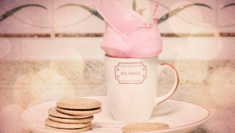 Стекло, коктейль, розовый, печенье, тарелка, брызги