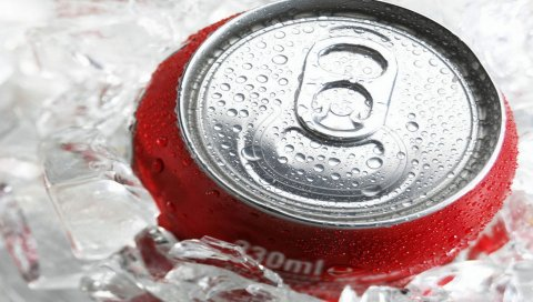 Кока-кола, пить, лед, банк